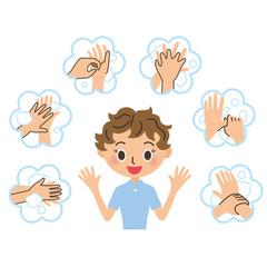手洗いを説明している女性