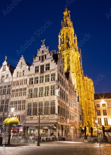 Antwerp - towers of cathedral of Our Lady in morning dusk