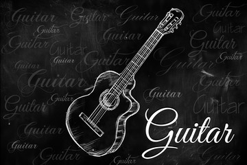 Guitar Classic Acoustic drawing on blackboard