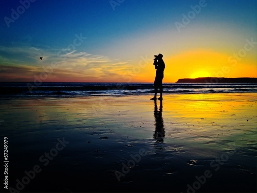 Coronado Beach Sunset Silhouette San Diego USA