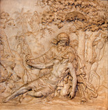 Antwerp - Marble relief of merciful Samaritan scene