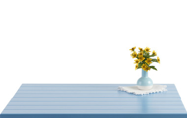 Blue wooden table with flowers in vase and empty space