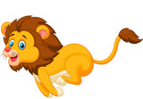 Cute lion cartoon running