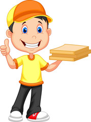 Delivery boy bringing a cardboard pizza box