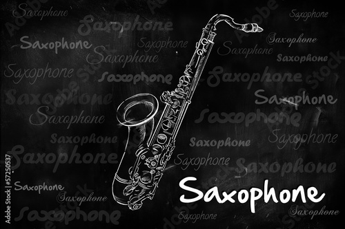 Saxophone typography sketching on blackboard
