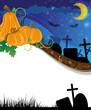 Halloween pumpkins on the cemetery