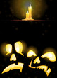 Horrible Jack o' Lanterns and burning candles