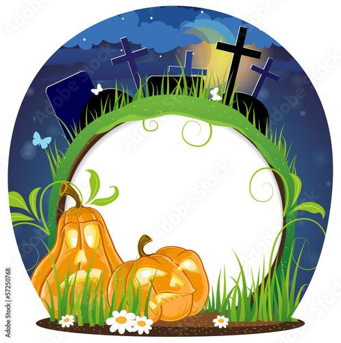 Jack o lanterns on a cemetery