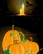 Pumpkins and burning candles