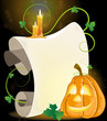 Smiling Jack o' Lantern, parchment and burning candles