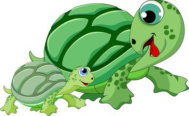 Cute mother and child turtle