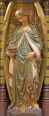Antwerp - Carved polychrome angel from pulpit of Joriskerk