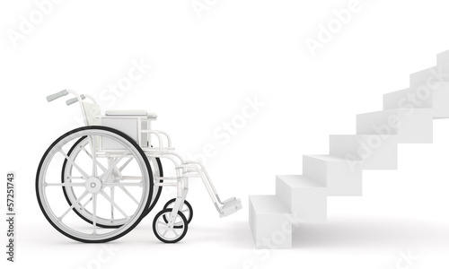 wheelchair in front of stairs isolated on white background