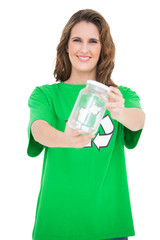 Smiling environmental activist holding glass