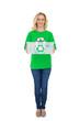 Cheerful pretty environmental activist holding recycling box