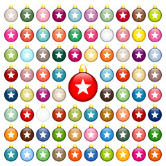 77 Christmas Balls Stars Uni Color Gold