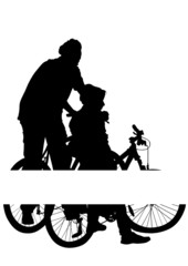 Father and son on bicycles