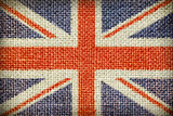 Texture of coarse cloth with the image of the Union Jack.