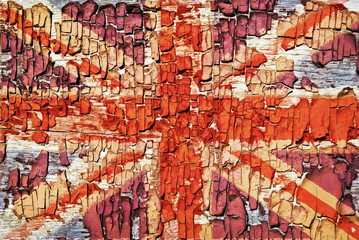 The texture of old paint, crackles with  Union Jack.