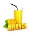 3d orange juice concept