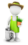 3d white people gardener with a watering can
