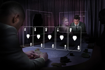 Casino white holographic card display in gambling room
