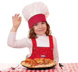 little girl cook with pizza and ok hand sign