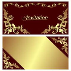 Invitation card - design with golden Borders.