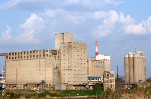industry zone with buildings and large silo
