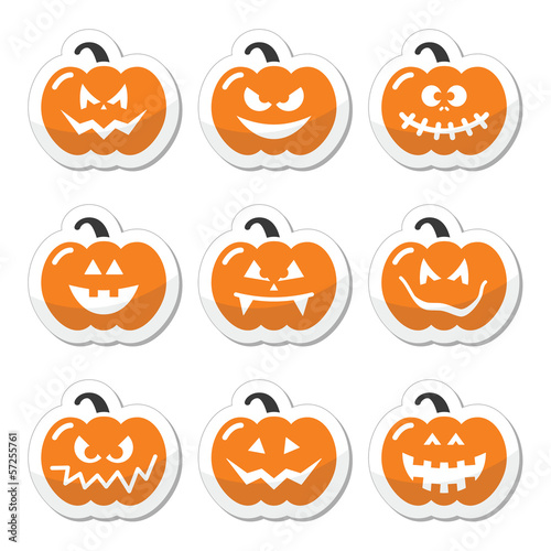 Halloween pumkin vector orange icons set