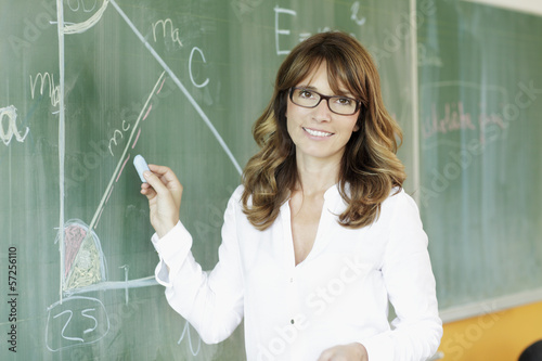 Smiling teacher in front of blackboard