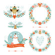 Set of Christmas wreaths, frames ,holiday symbols