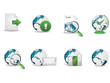 Internet icon set with globe