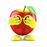 3d Apple is very shy