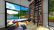 Modern living room with a view on lake