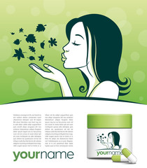 Logo produits naturels et écologiques, cosmétique, nutrition