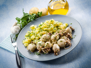 small cuttlefish with potatoes salad