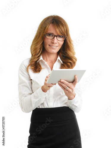 Modern business woman holding tablet. White background.