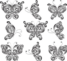 Set of butterflies tattoo