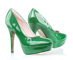 Green High Heels shoes with platform