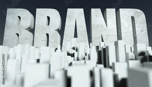 3d Brand in City concept, model of cityscape