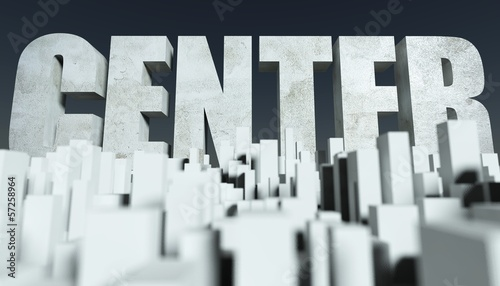3d City Center concept, model of cityscape