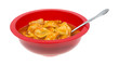 A bowl of ravioli with a spoon on a white background