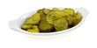 Bread and butter pickles in a shallow dish