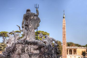Neptune statue at Piazza del Popolo, Rome, Italy