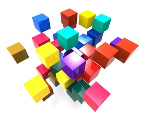 Exploding Blocks Showing Scattered Puzzle