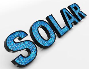 Solar Word Shows Alternative Energy And Sunlight