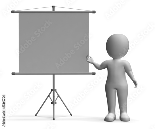 Character With Blank Signboard Allows Message Or Advertising