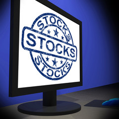 Stocks Screen Shows Shares Growth And Stock Market