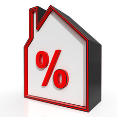 House And Percent Sign Displays Investment Or Discount